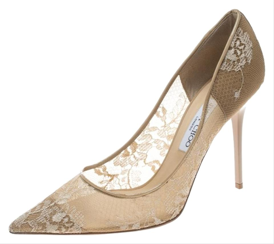 wholesale online good service buying now Jimmy Choo Beige Lace and Patent Leather Abel Pointed Pumps Size ...