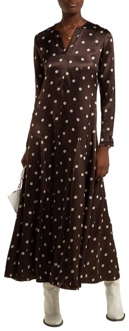 Item - Brown Cream 36 Cameron Polka Dots Flared Skirt Long Night Out Dress Size 6 (S)