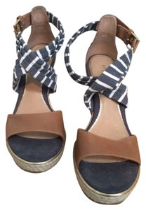 Sperry Striped Blue and Tan Wedges