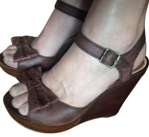 Frye Dark Brown Leather Wedges
