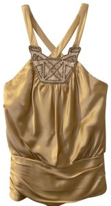 Marc Bouwer Beaded Gold Halter Top