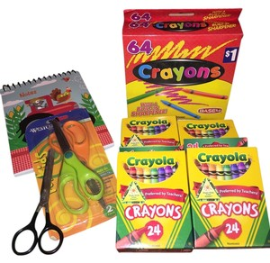 Crayola Creative Fun Kiddies Kit; 4 Boxes-24 Pc. Crayola Crayons, 1 Box -64 Pc. Crayons, 3 Pair- Childrens Scissors, 1-Kid's Note Pad [ TommiesCloset ]