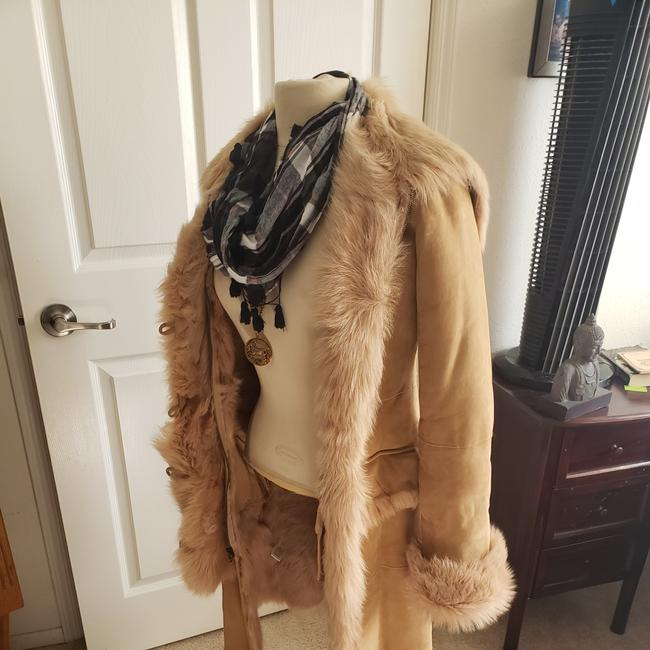 Item - Tan Leather and Faux Shearling Coat Size 6 (S)