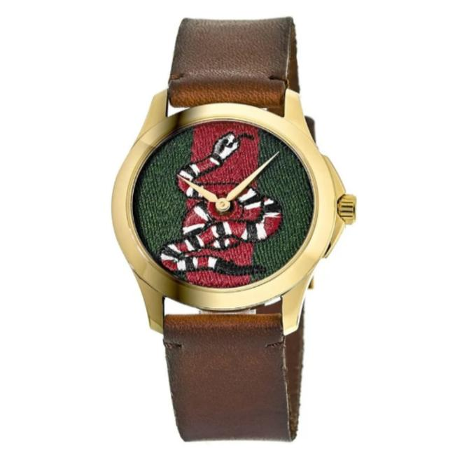 Item - Green Le Marche Des Merveilles and Red Dial Brown Leather Strap Unisex Watch