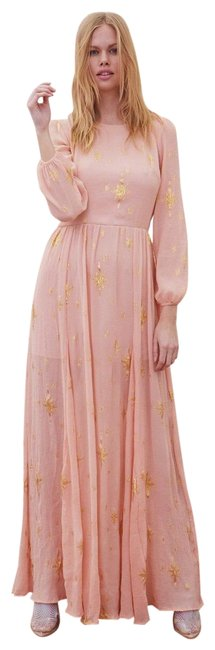 Item - Rose Pink Gilded Star Silk Maxi Long Cocktail Dress Size 0 (XS)