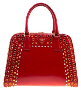 Prada Patent Leather Leather Satchel in Red