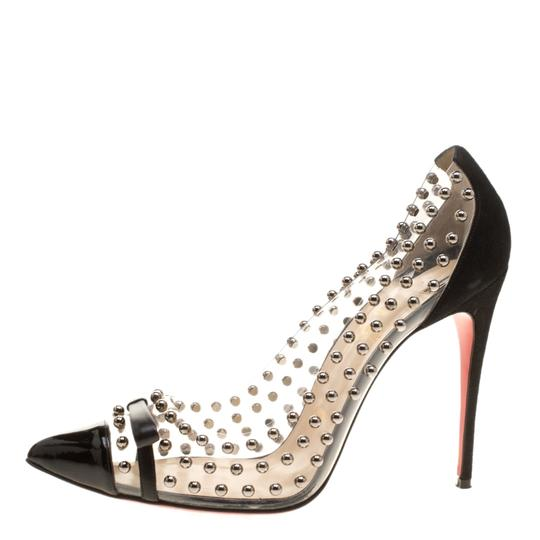 Christian Louboutin Studded Pvc Suede Leather Black Pumps Image 3