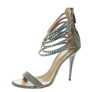 Giuseppe Zanotti Suede Crystal Embellished Ankle Strap Open Toe Grey Sandals