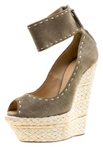 Giuseppe Zanotti Suede Espadrille Wedge Ankle Strap Green Sandals