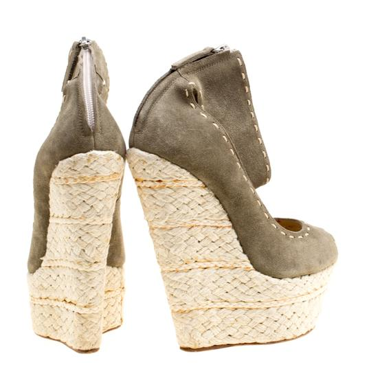 Giuseppe Zanotti Suede Espadrille Wedge Ankle Strap Green Sandals Image 3