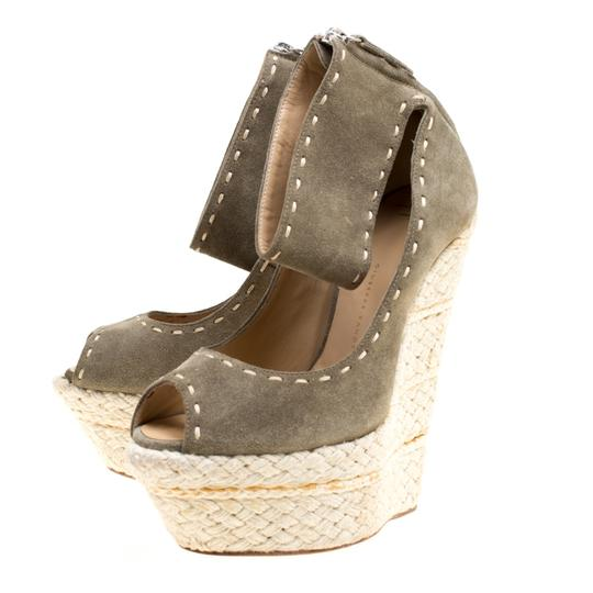 Giuseppe Zanotti Suede Espadrille Wedge Ankle Strap Green Sandals Image 4