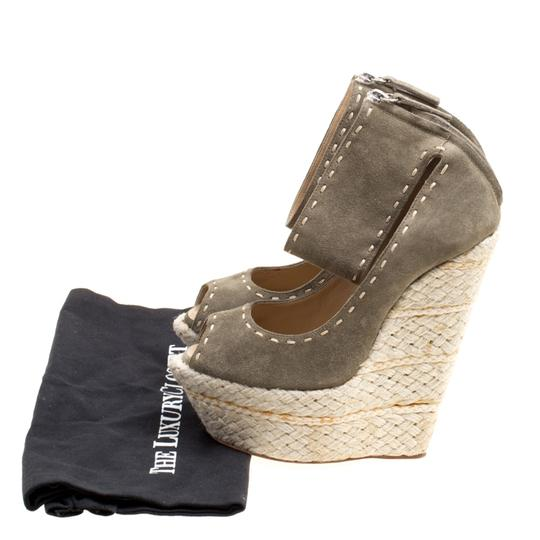 Giuseppe Zanotti Suede Espadrille Wedge Ankle Strap Green Sandals Image 7