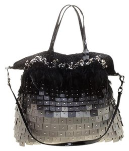 Valentino Satin Patent Leather Sequin Feather Tote in Multicolor