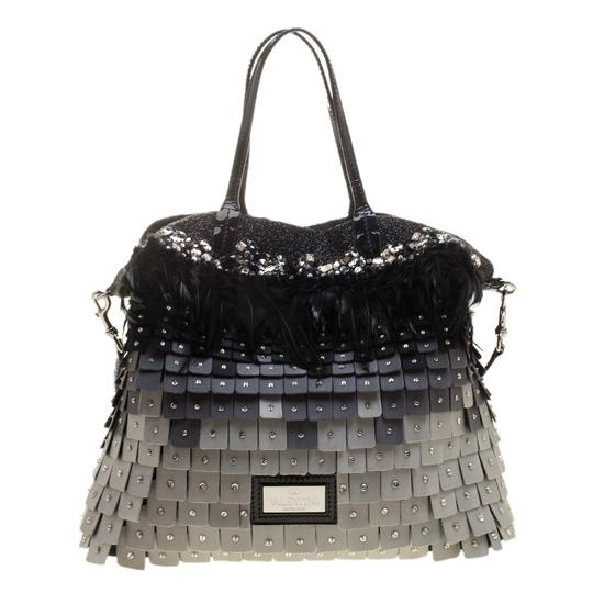 Valentino Satin Patent Leather Sequin Feather Tote in Multicolor Image 1
