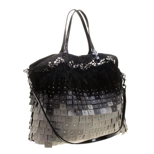 Valentino Satin Patent Leather Sequin Feather Tote in Multicolor Image 4