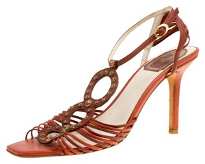 Dior Leather Ankle Strap Brown Sandals