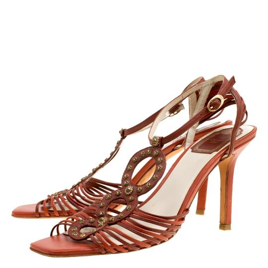 Dior Leather Ankle Strap Brown Sandals Image 5