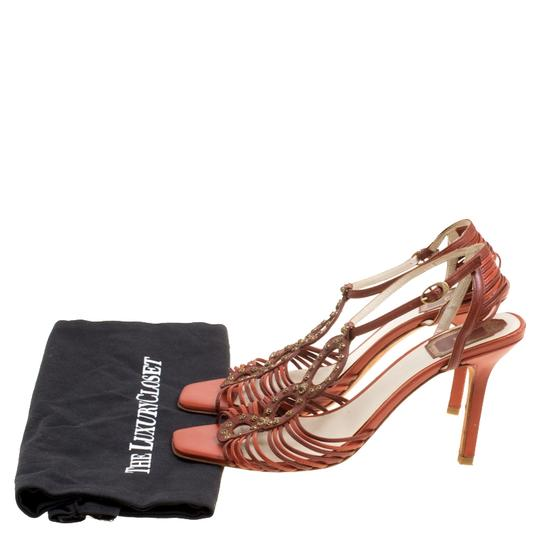 Dior Leather Ankle Strap Brown Sandals Image 6