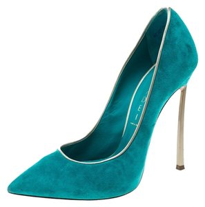 Casadei Suede Pointed Toe Green Pumps