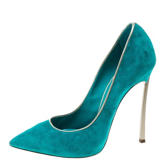 Casadei Suede Pointed Toe Green Pumps Image 1