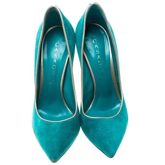 Casadei Suede Pointed Toe Green Pumps Image 2