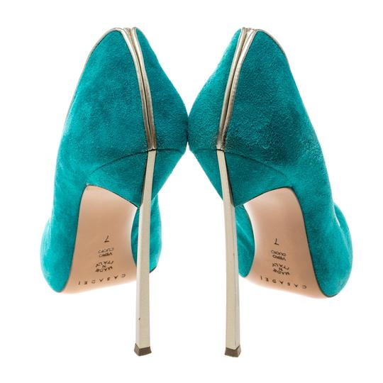 Casadei Suede Pointed Toe Green Pumps Image 3