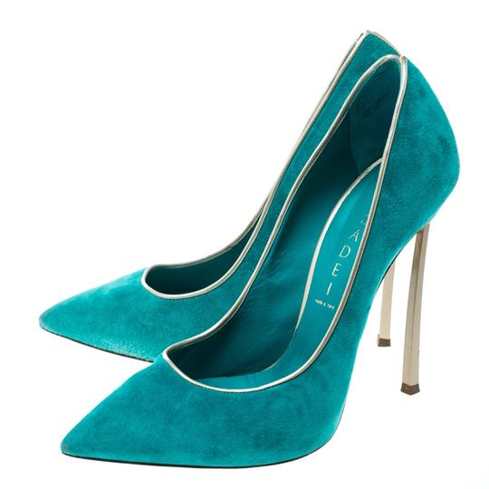 Casadei Suede Pointed Toe Green Pumps Image 5