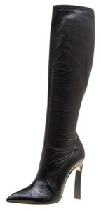 Casadei Leather Pointed Toe Black Boots