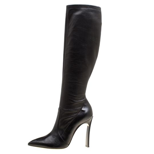 Casadei Leather Pointed Toe Black Boots Image 1