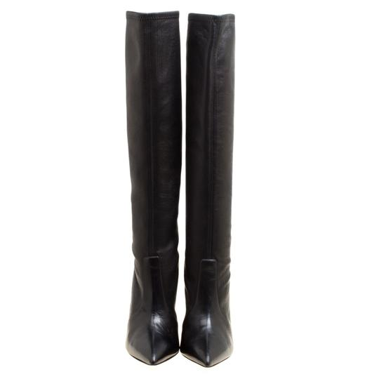 Casadei Leather Pointed Toe Black Boots Image 2
