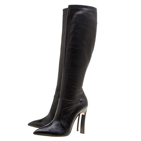 Casadei Leather Pointed Toe Black Boots Image 4