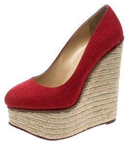 Charlotte Olympia Canvas Platform Wedge Red Pumps