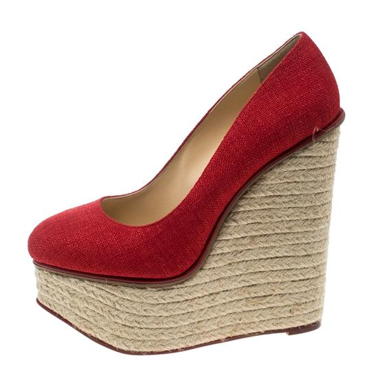 Charlotte Olympia Canvas Platform Wedge Red Pumps Image 1