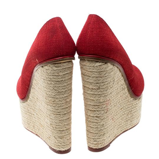 Charlotte Olympia Canvas Platform Wedge Red Pumps Image 3