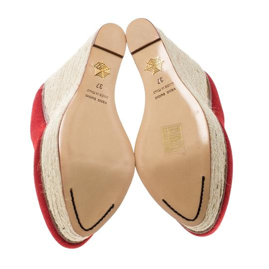 Charlotte Olympia Canvas Platform Wedge Red Pumps Image 4