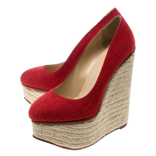 Charlotte Olympia Canvas Platform Wedge Red Pumps Image 5