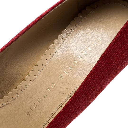Charlotte Olympia Canvas Platform Wedge Red Pumps Image 6