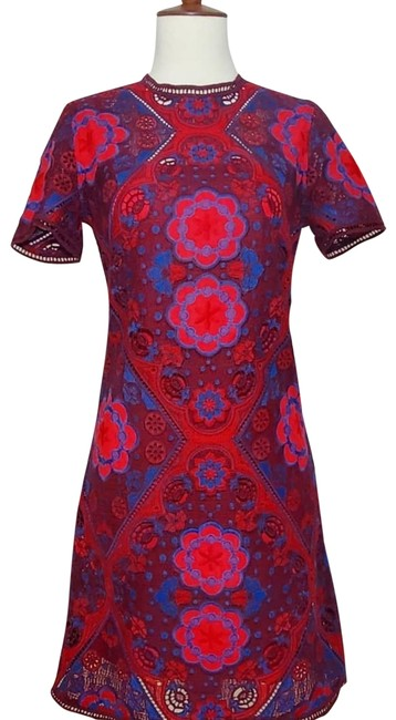 Preload https://img-static.tradesy.com/item/26426813/sandro-red-maroon-blue-embroidered-medallion-lace-short-casual-dress-size-4-s-0-1-650-650.jpg