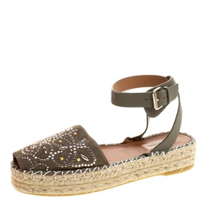 Valentino Embellished Suede Leather Ankle Strap Espadrille Green Flats