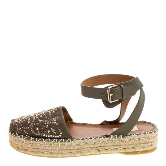 Valentino Embellished Suede Leather Ankle Strap Espadrille Green Flats Image 1