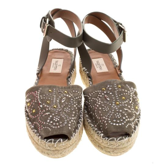 Valentino Embellished Suede Leather Ankle Strap Espadrille Green Flats Image 2