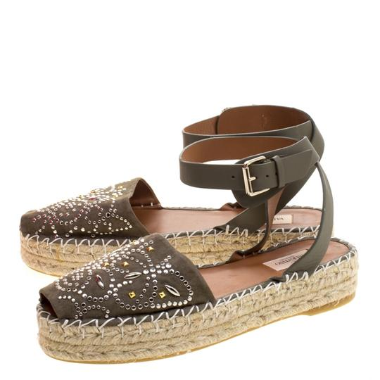 Valentino Embellished Suede Leather Ankle Strap Espadrille Green Flats Image 3