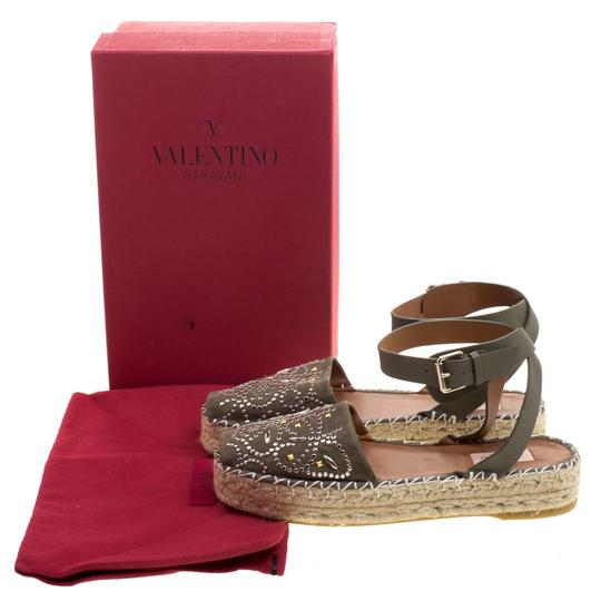 Valentino Embellished Suede Leather Ankle Strap Espadrille Green Flats Image 7