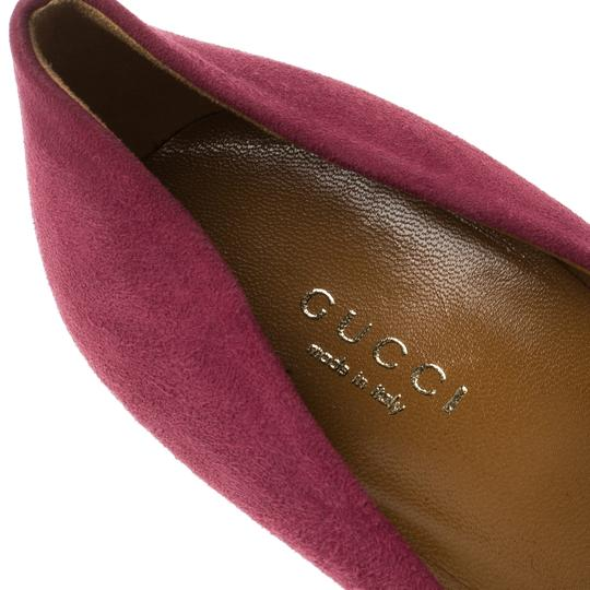 Gucci Suede Round Toe Red Pumps Image 6