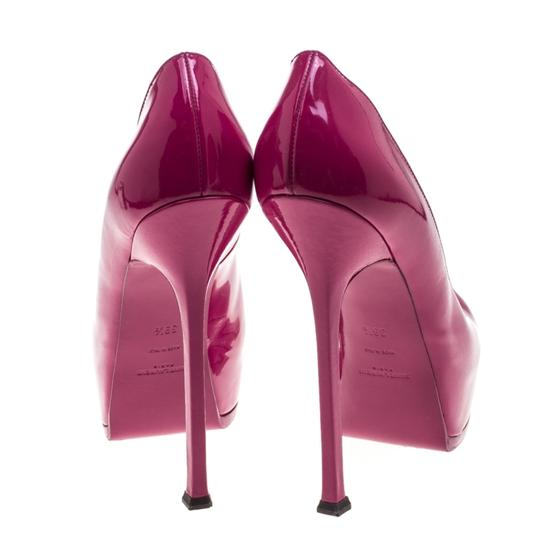 Saint Laurent Patent Leather Leather Tribtoo Platform Pink Pumps Image 2
