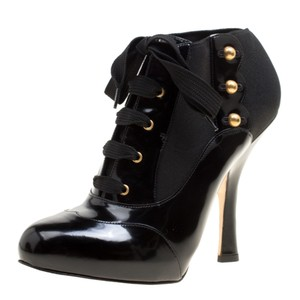 Dolce&Gabbana Leather Stretch Studded Detail Lace Black Boots