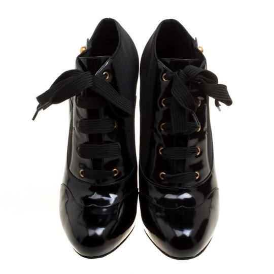 Dolce&Gabbana Leather Stretch Studded Detail Lace Black Boots Image 1
