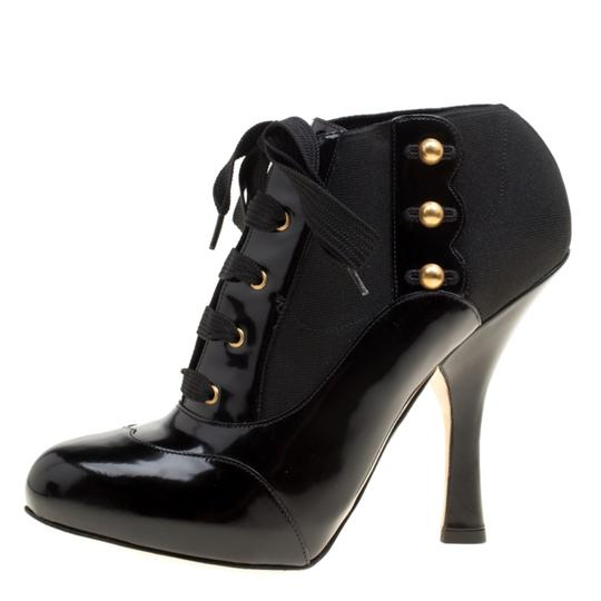 Dolce&Gabbana Leather Stretch Studded Detail Lace Black Boots Image 4
