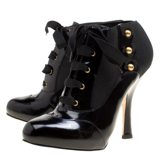 Dolce&Gabbana Leather Stretch Studded Detail Lace Black Boots Image 6