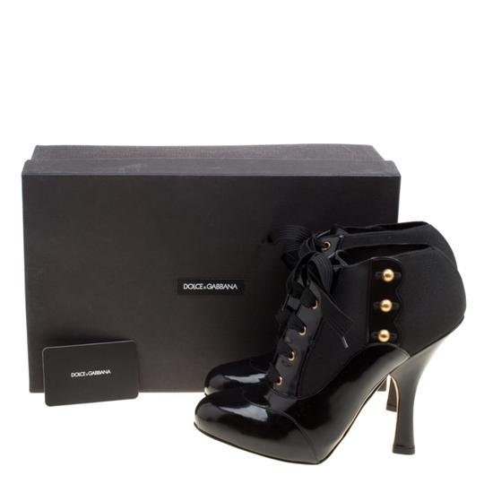 Dolce&Gabbana Leather Stretch Studded Detail Lace Black Boots Image 7